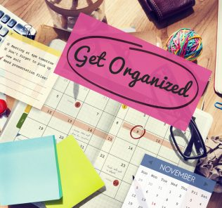 get organized on cluttered work desk