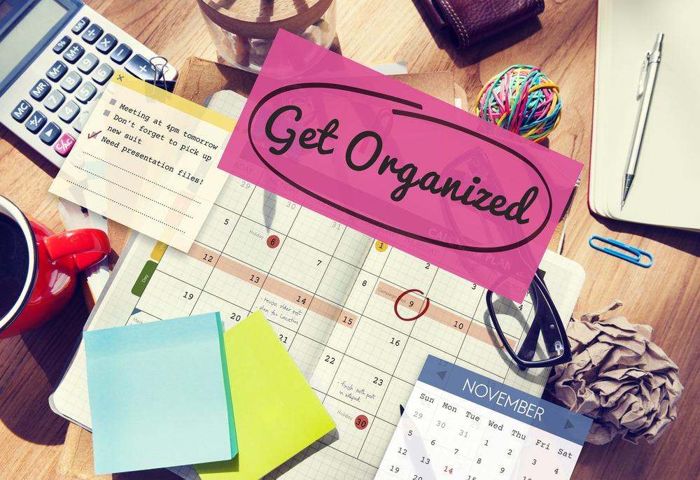get organized on cluttered work desk