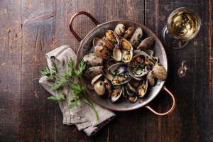 variety of shellfish dish taken with Progentra pills
