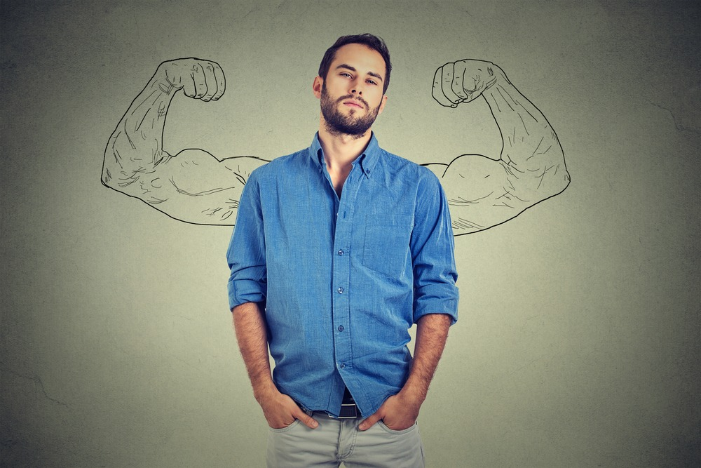 confident man with ego with drawn flexed muscles on behind is told about Progentra