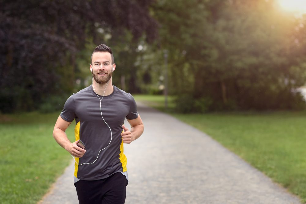 Progentra user running outdoors for weight loss