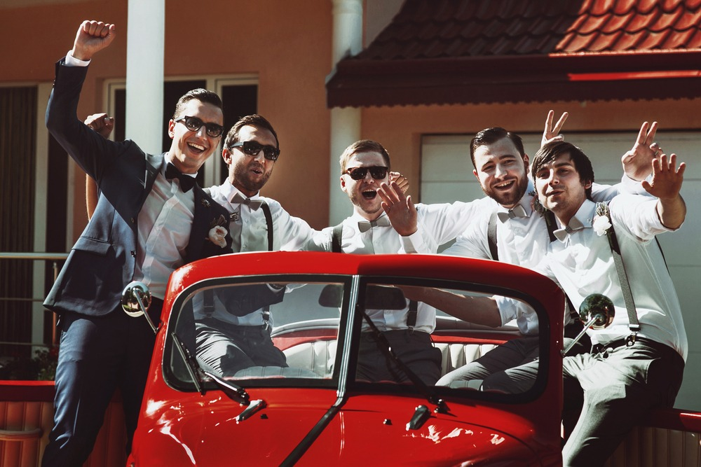 groom and his groomsmen having a blast and talks about Progentra