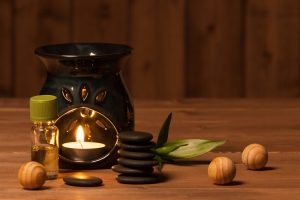 aromatherapy candle and oil