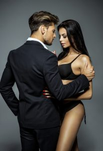 businessman and sexy woman